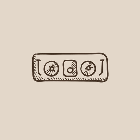 acoustic systems: DJ console sketch icon for web, mobile and infographics. Hand drawn vector isolated icon.