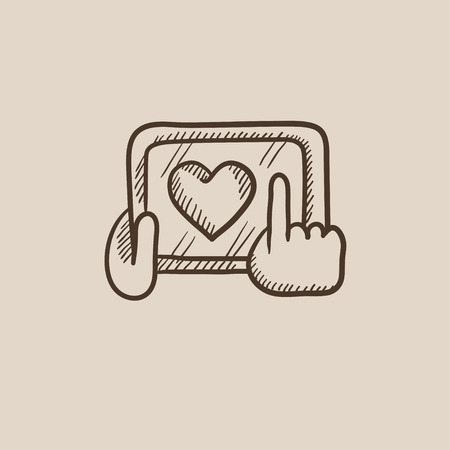 hand touch: Smartphone with heart sign sketch icon for web, mobile and infographics. Hand drawn vector isolated icon.