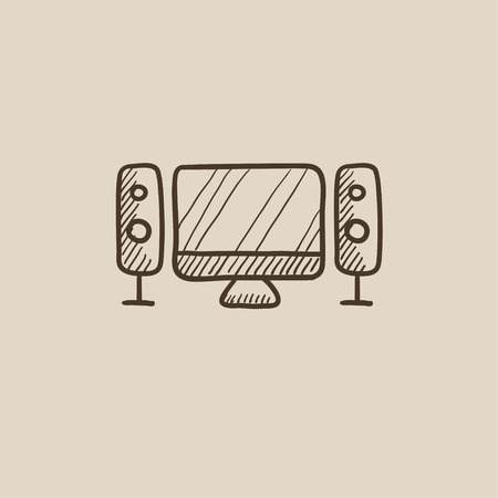 home cinema: Home cinema system sketch icon for web, mobile and infographics. Hand drawn vector isolated icon.