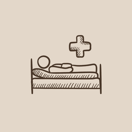 lying on bed: Patient lying on the bed sketch icon for web, mobile and infographics. Hand drawn vector isolated icon. Illustration