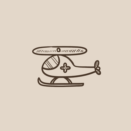 heli: Air ambulance sketch icon for web, mobile and infographics. Hand drawn vector isolated icon.