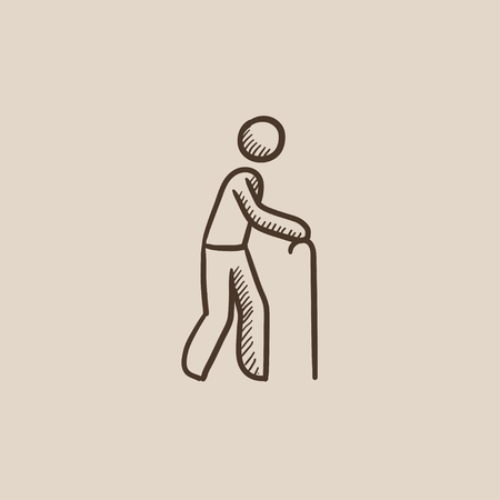 gerontology: Man walking with cane sketch icon for web, mobile and infographics. Hand drawn vector isolated icon. Illustration