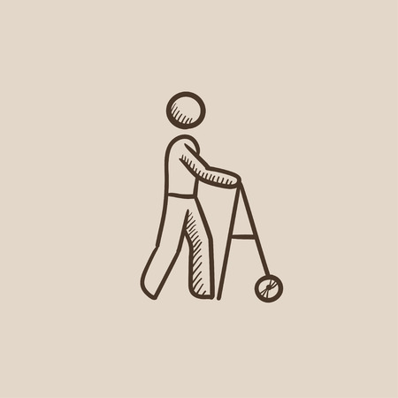 Man with walker sketch icon for web, mobile and infographics. Hand drawn vector isolated icon.