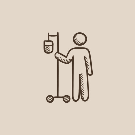intravenous: Patient standing with intravenous dropper sketch icon for web, mobile and infographics. Hand drawn vector isolated icon.