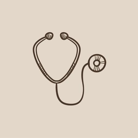 Stethoscope sketch icon for web, mobile and infographics. Hand drawn vector isolated icon.