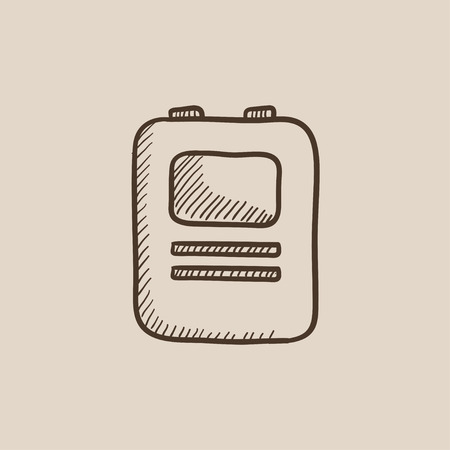 defibrillator: Heart defibrillator sketch icon for web, mobile and infographics. Hand drawn vector isolated icon. Illustration