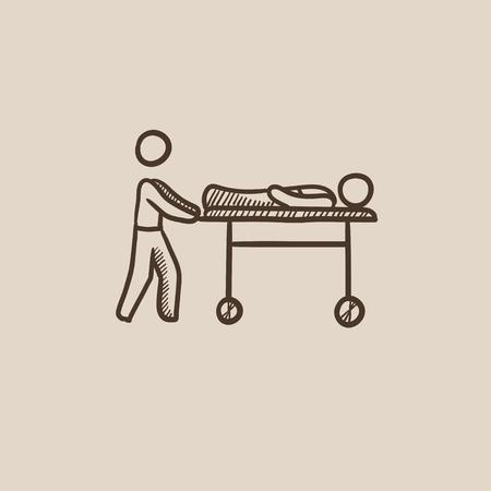 Hombre empujando camillas con pacientes dibujo icono para web, móvil y la infografía. aislado vector dibujado a mano icono.