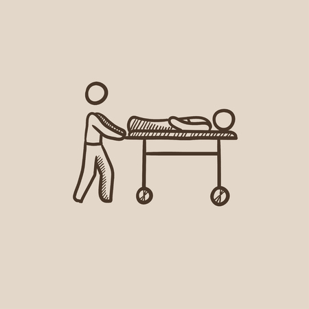 Man pushing stretchers with patient sketch icon for web, mobile and infographics. Hand drawn vector isolated icon.