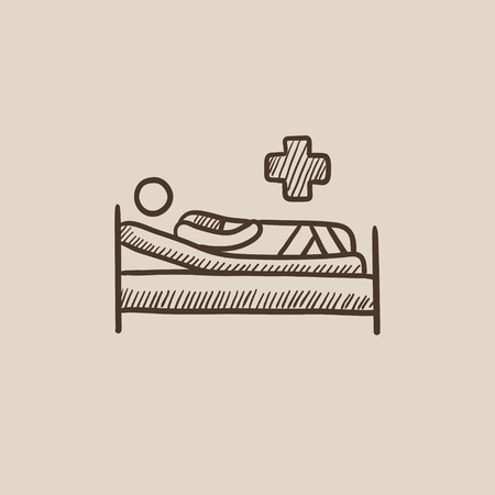 Patient lying on the bed sketch icon for web, mobile and infographics. Hand drawn vector isolated icon. Illustration