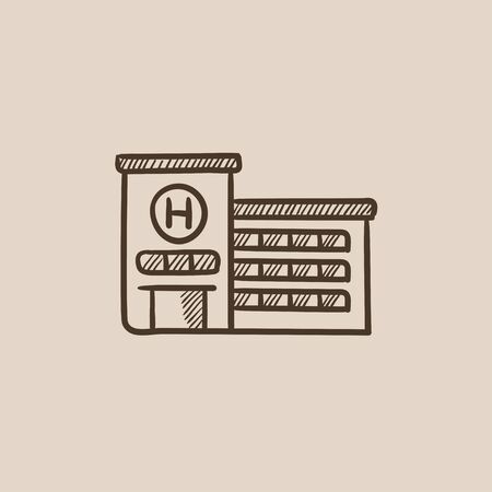 building sketch: Hospital building sketch icon for web, mobile and infographics. Hand drawn vector isolated icon.