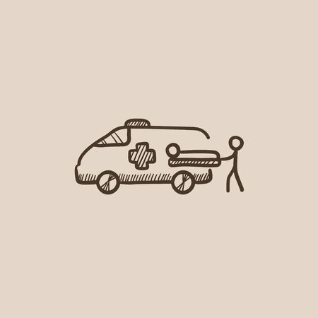 Man pushing stretchers with patient in ambulance car sketch icon for web, mobile and infographics. Hand drawn vector isolated icon. Vectores