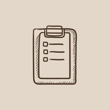 report icon: Medical report sketch icon for web, mobile and infographics. Hand drawn vector isolated icon.