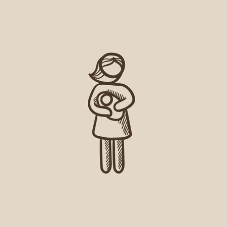 Woman holding the baby sketch icon for web, mobile and infographics. Hand drawn vector isolated icon.