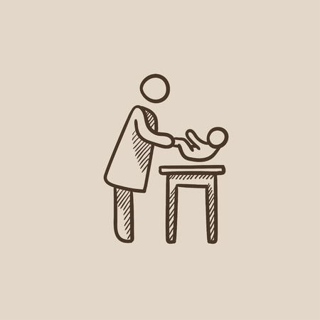 laying little: Mother taking care of the baby sketch icon for web, mobile and infographics. Hand drawn vector isolated icon. Illustration