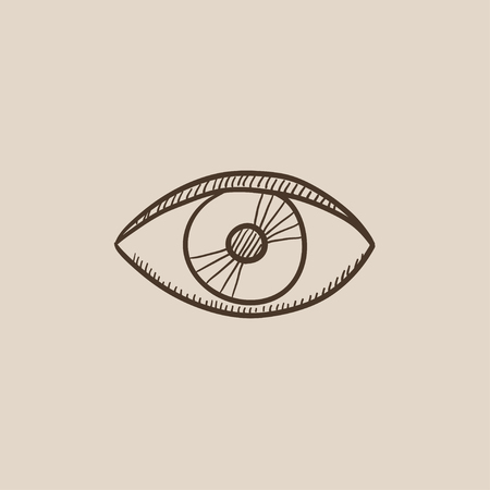 shortsighted: Eye sketch icon for web, mobile and infographics. Hand drawn vector isolated icon.