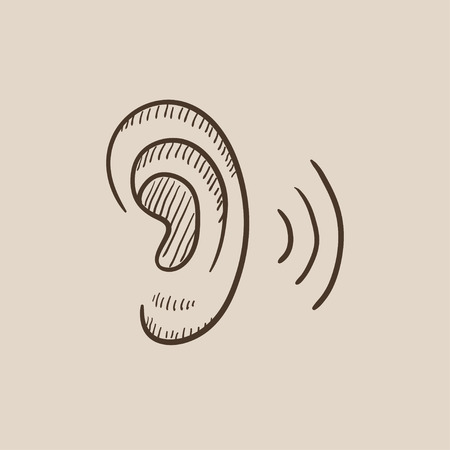 humano icono del bosquejo del oído para web, móvil y la infografía. aislado vector dibujado a mano icono.
