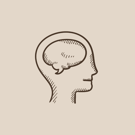 neuronal: Human head with brain sketch icon for web, mobile and infographics. Hand drawn vector isolated icon.