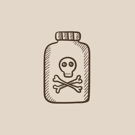 poison bottle: Bottle of poison sketch icon for web, mobile and infographics. Hand drawn vector isolated icon.