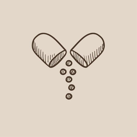Capsule pill sketch icon for web, mobile and infographics. Hand drawn vector isolated icon. 向量圖像