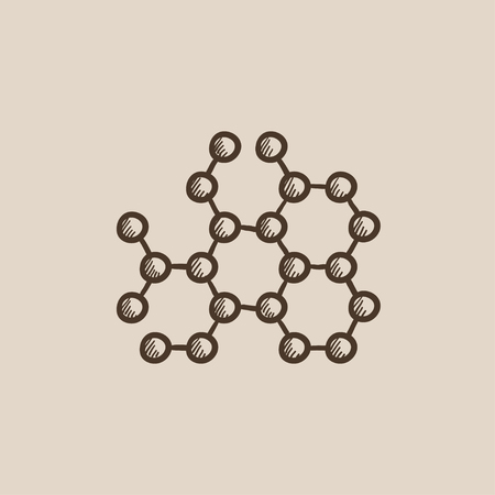 Molecule sketch icon for web, mobile and infographics. Hand drawn vector isolated icon.