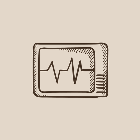 heart monitor: Heart monitor sketch icon for web, mobile and infographics. Hand drawn vector isolated icon. Illustration