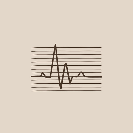 heart ekg trace: Hheart beat cardiogram sketch icon for web, mobile and infographics. Hand drawn vector isolated icon. Illustration