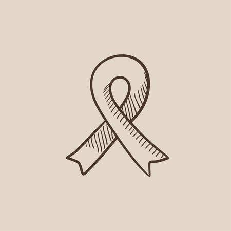 health care funding: Ribbon sketch icon for web, mobile and infographics. Hand drawn vector isolated icon.