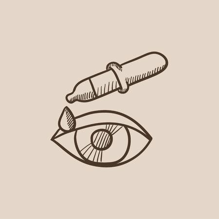 Pipet en oogschets pictogram voor web, mobiel en infographics. Hand getrokken vector geïsoleerde pictogram.