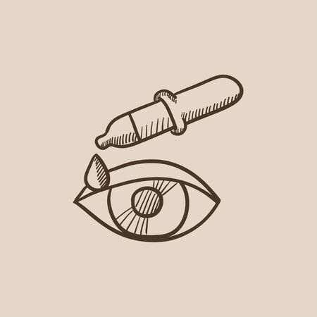 eye pipette: Pipette and eye sketch icon for web, mobile and infographics. Hand drawn vector isolated icon. Illustration