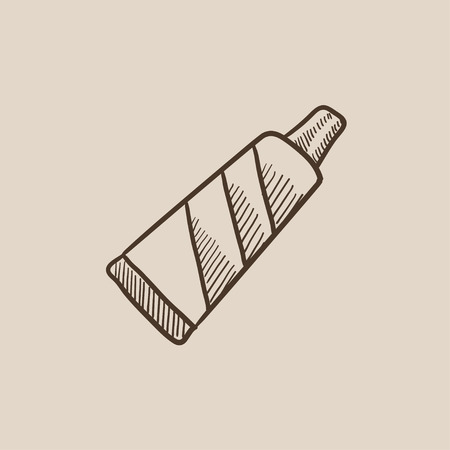 Tube of toothpaste sketch icon for web, mobile and infographics. Hand drawn vector isolated icon. Illusztráció