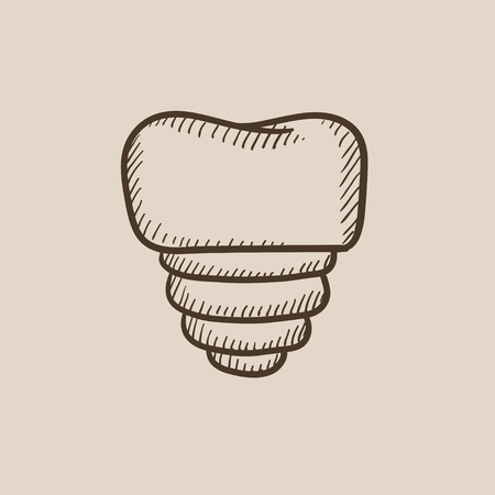 implanted: Tooth implant sketch icon for web, mobile and infographics. Hand drawn vector isolated icon.