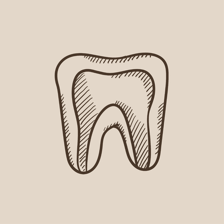 molar: Molar tooth sketch icon for web, mobile and infographics. Hand drawn vector isolated icon. Illustration