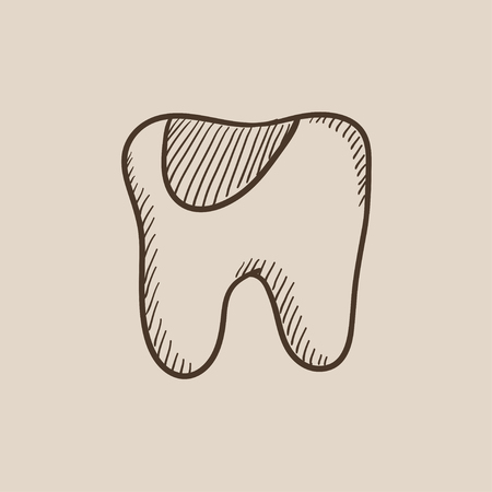 crumbling: Tooth decay sketch icon for web, mobile and infographics. Hand drawn vector isolated icon.