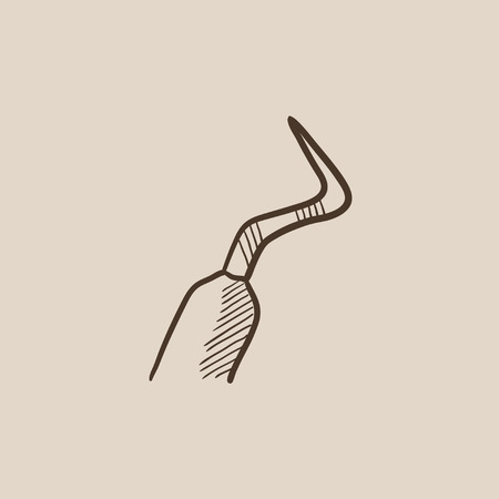 scraper: Dental scraper sketch icon for web, mobile and infographics. Hand drawn vector isolated icon. Illustration