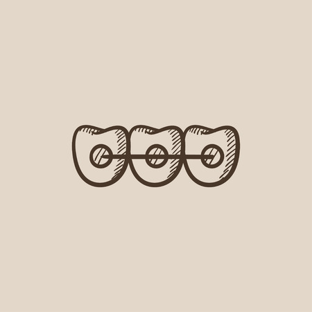 orthodontic: Orthodontic braces sketch icon for web, mobile and infographics. Hand drawn vector isolated icon.