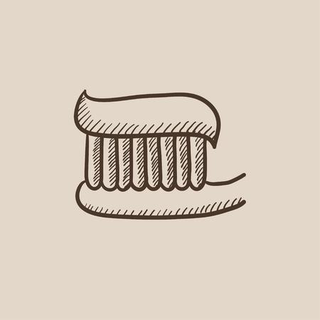 歯磨き粉と歯ブラシは、web、モバイルのアイコンとインフォ グラフィックをスケッチします。手には、ベクトル分離アイコンが描画されます。  イラスト・ベクター素材