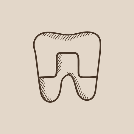 Crowned tooth sketch icon for web, mobile and infographics. Hand drawn vector isolated icon. Illustration
