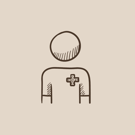 medico: Nurse sketch icon for web, mobile and infographics. Hand drawn vector isolated icon. Illustration