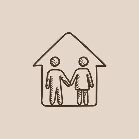 family isolated: Family house sketch icon for web, mobile and infographics. Hand drawn vector isolated icon. Illustration