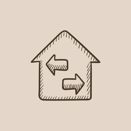 Property resale sketch icon for web, mobile and infographics. Hand drawn vector isolated icon.