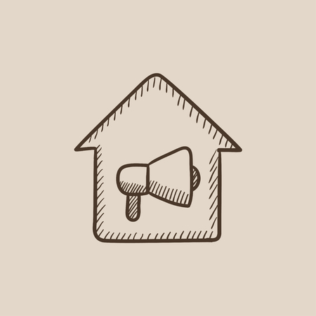 house fire: House fire alarm sketch icon for web, mobile and infographics. Hand drawn vector isolated icon. Illustration