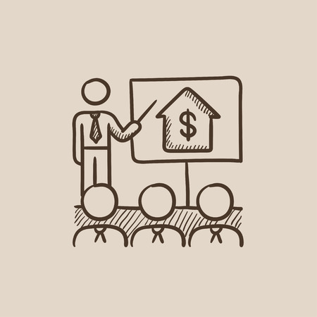 valuation: Real estate training sketch icon for web, mobile and infographics. Hand drawn vector isolated icon.