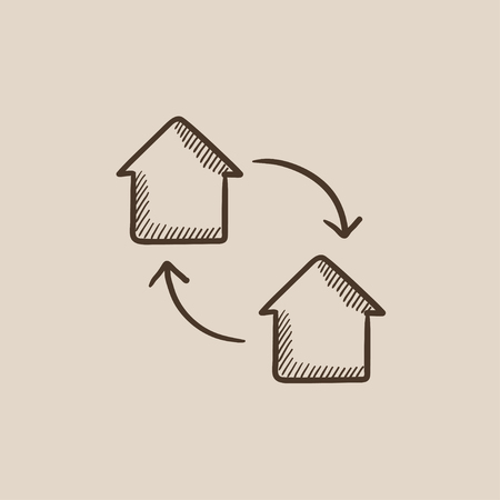 house exchange: House exchange sketch icon for web, mobile and infographics. Hand drawn vector isolated icon. Illustration