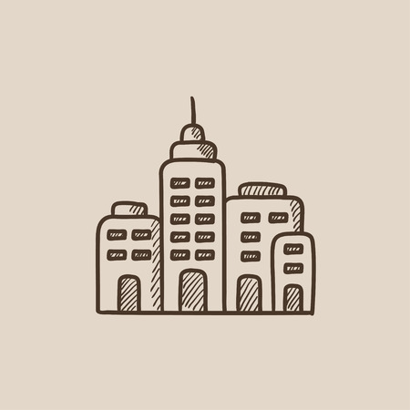 multi storey: Residential buildings sketch icon for web, mobile and infographics. Hand drawn vector isolated icon.