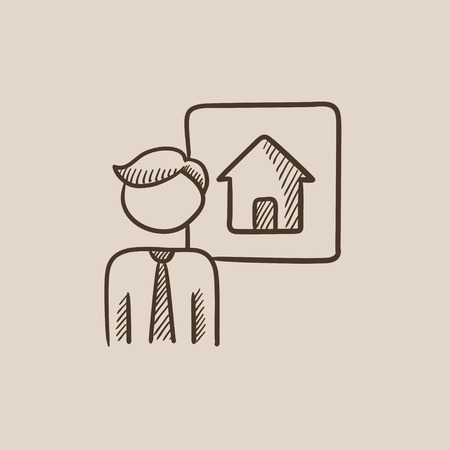 renter: Real estate agent sketch icon for web, mobile and infographics. Hand drawn vector isolated icon. Illustration