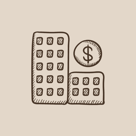 condominium: Condominium with dollar symbol sketch icon for web, mobile and infographics. Hand drawn vector isolated icon.