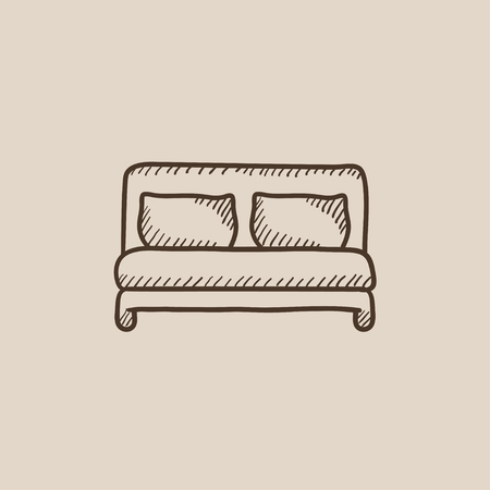 headboard: Double bed sketch icon for web, mobile and infographics. Hand drawn vector isolated icon. Illustration