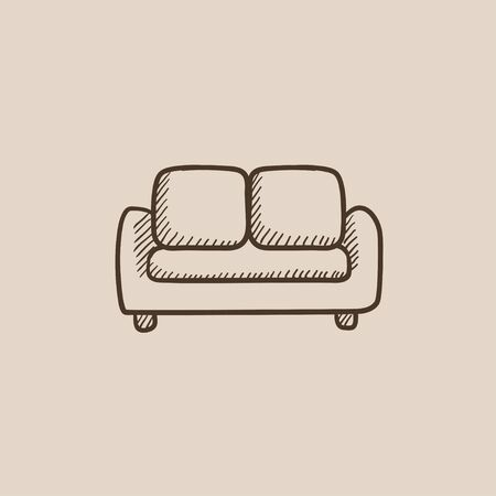one bedroom: Sofa sketch icon for web, mobile and infographics. Hand drawn vector isolated icon.