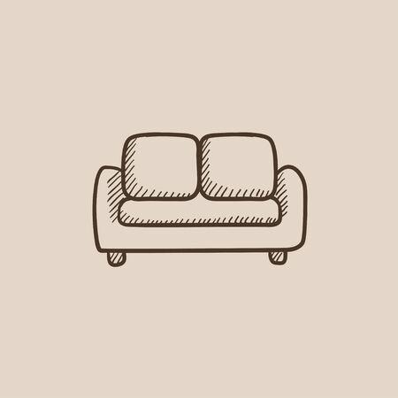 Sofa gezeichnet  Kronleuchter Vektor Skizze Symbol Auf Hintergrund Isoliert. Hand ...