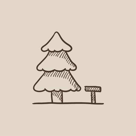 paysage: Landscape sketch icon for web, mobile and infographics. Hand drawn vector isolated icon.